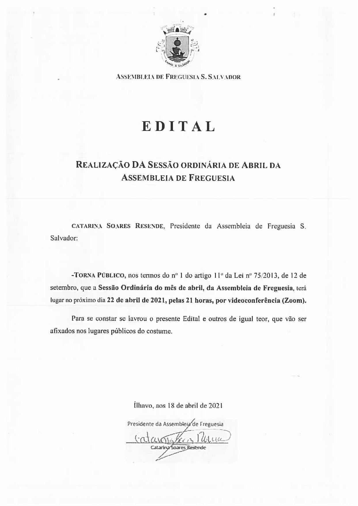 Assembleia de Freguesia de Abril _ 2021