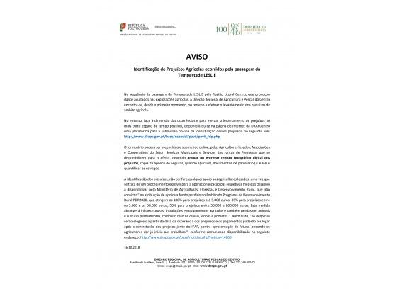 AVISO_Identificação de Prejuízos Agrícolas ocorridos pela passagem da Tempestade LESLIE