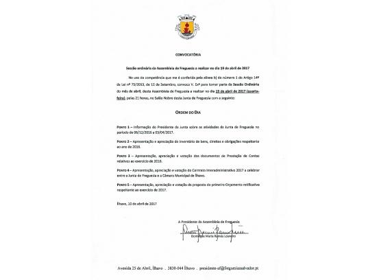 Assembleia de Freguesia - Abril 2017