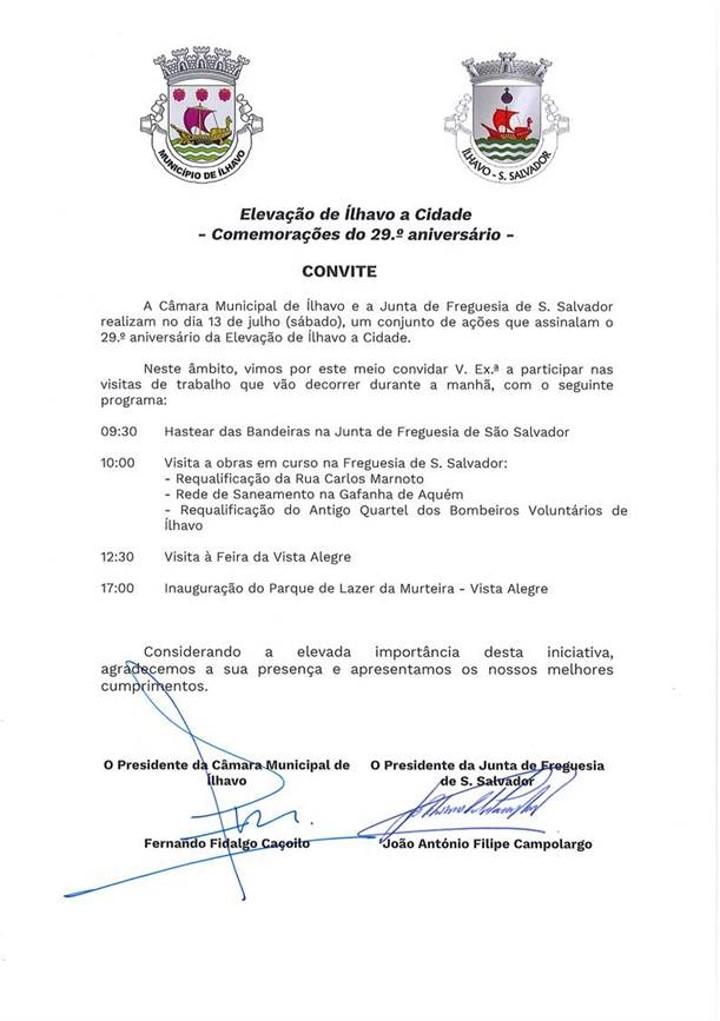 CONVITE: Comemorações do 29.º aniversário da Elevação de Ílhavo a Cidade