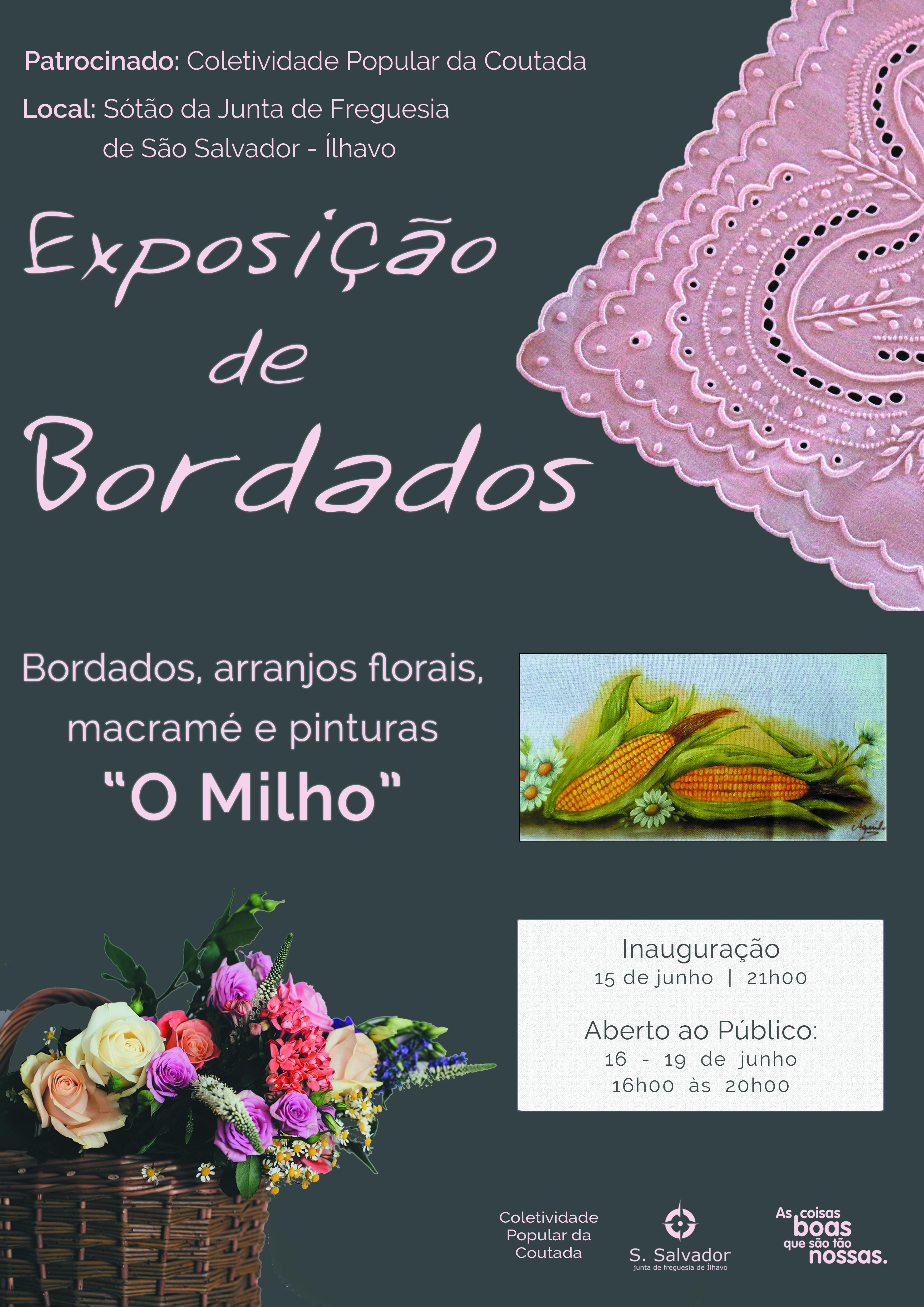 """Exposição de Bordados """"O Milho"""", da Coletividade Popular da Coutada no sótão do edifício da Junta de Freguesia"""