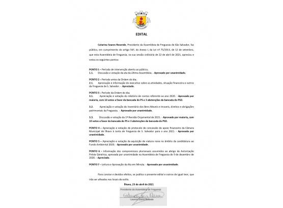 Edital de Deliberações - Assembleia de abril de 2021
