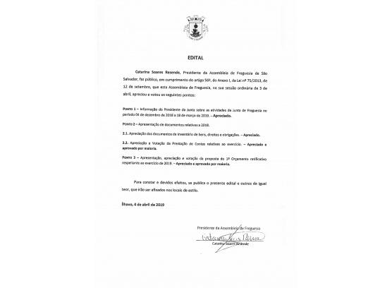 EDITAL DE DELIBERAÇÕES_ Assembleia de Freguesia de Abril