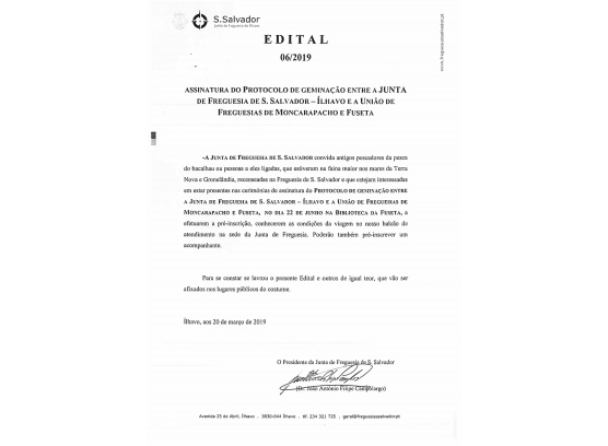 Abertura das Inscrições para assinatura do Protocolo de Geminação na Biblioteca da Fuseta