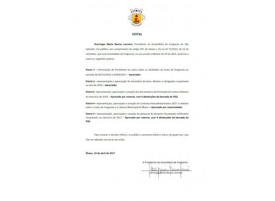 Deliberações da Assembleia de Freguesia - Abril 2017