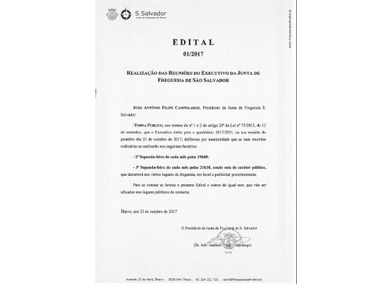 Realização das Reuniões de Executivo da Junta de Freguesia de São Salvador