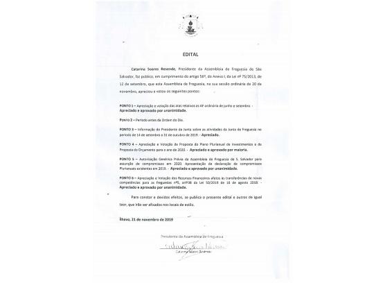 Edital de Deliberações - Assembleia de Novembro